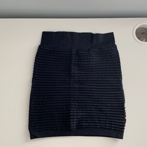 Black Bodycon Ruched Skirt